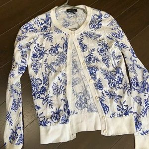 NWOT white and blue floral cardigan